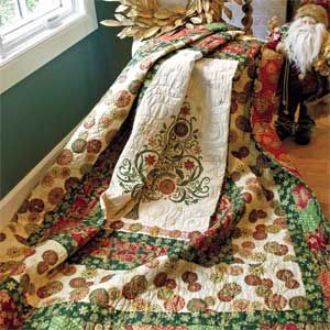 Gilded Holiday: Elegant Christmas Panel Medallion Lap Quilt ... : christmas quilt panels - Adamdwight.com