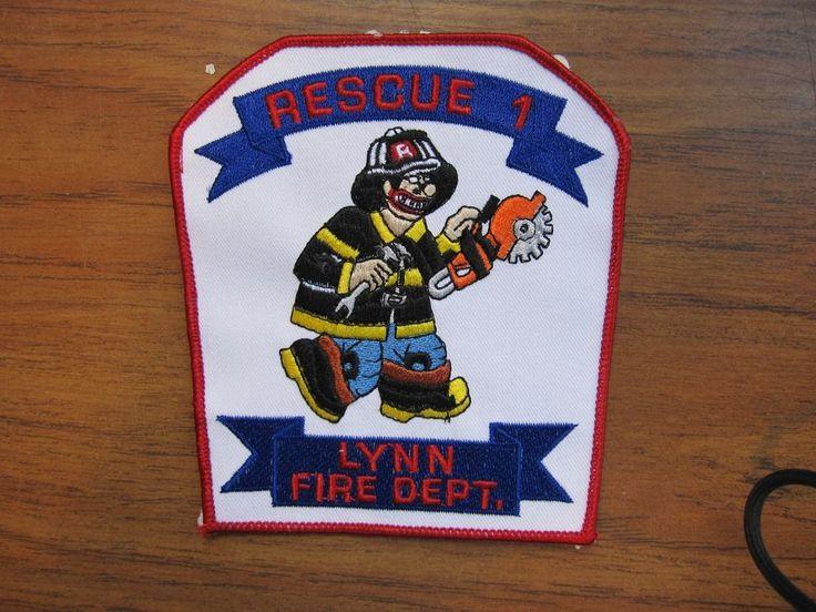 """RARE Lynn MA Fire Dept. Rescue 1  """"Simpson cartoon with a chain saw"""""""