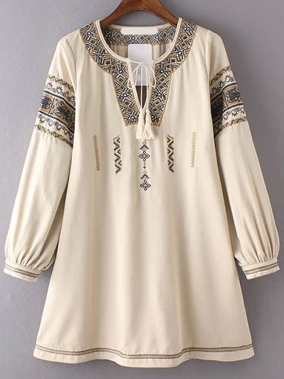 V Neck Lace Up Embroidered Apricot Dress