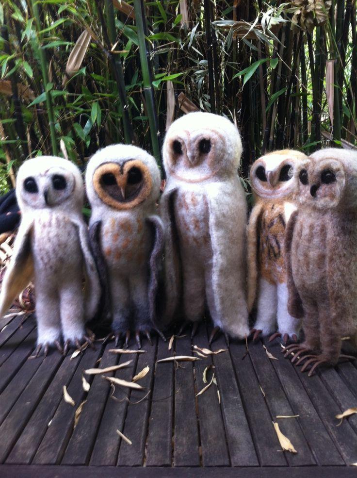 five new felt owls by Elaine Beechey