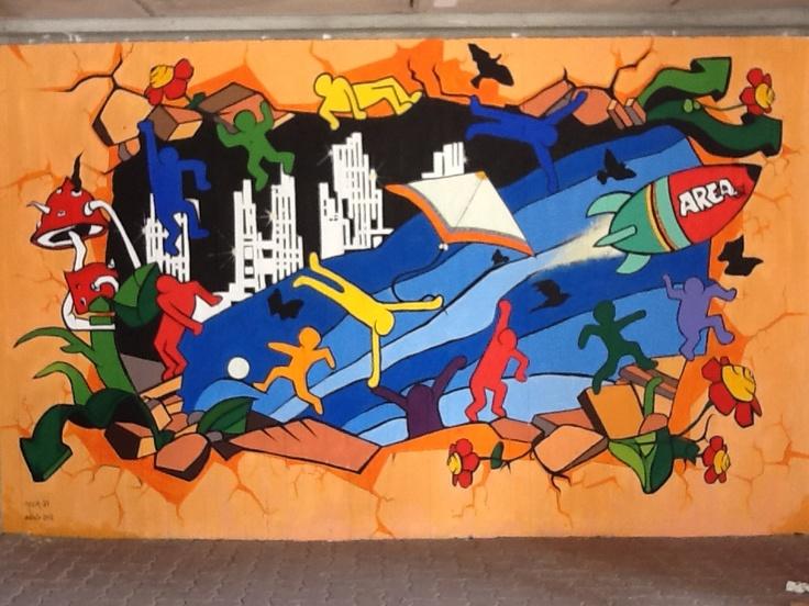 Caronno Varesino, scuola media 2012, acrilico su cemento