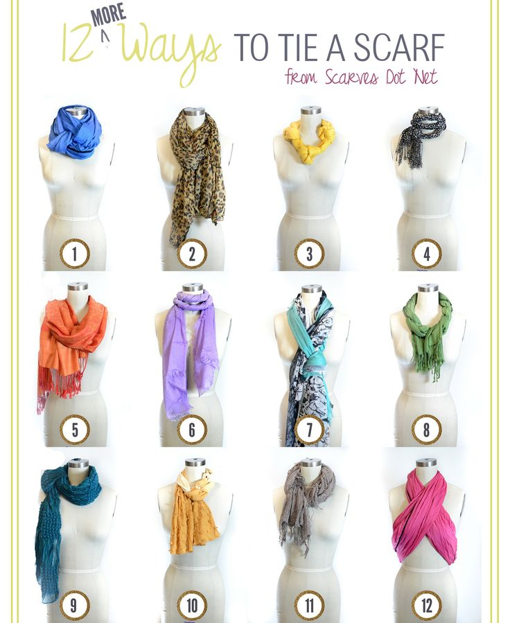 truebluemeandyou: DIY Twelve More Ways to Tie a Scarf here from scarves.net here. For more ideas on DIYing scarves, scarf storage and alter...