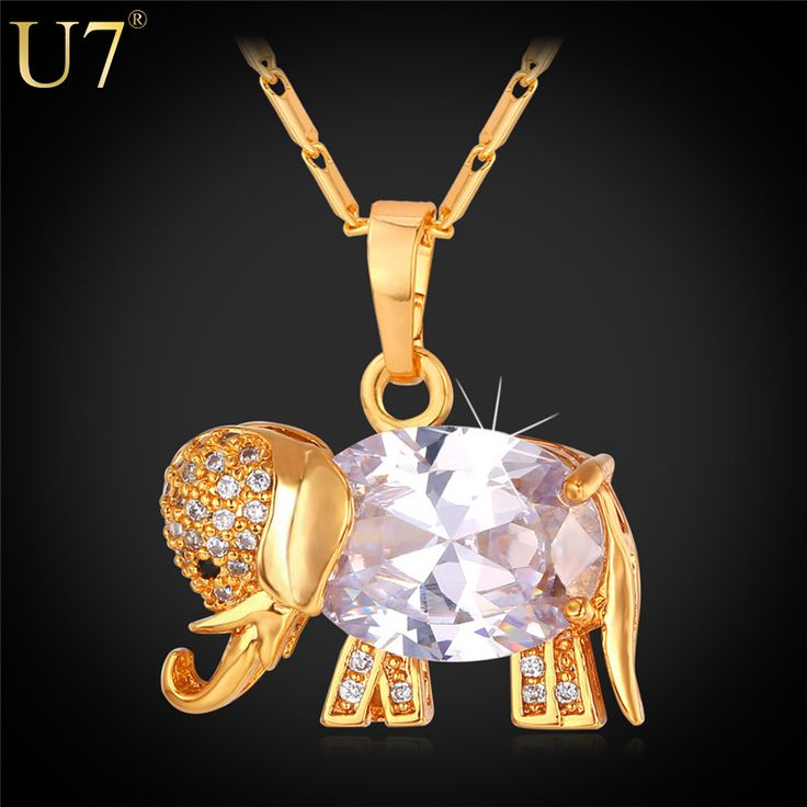 U7 Western Design Cute Elephant Necklace Trendy Gold Plated AAA Zirconia Pendant Necklace Lucky Jewelry P562