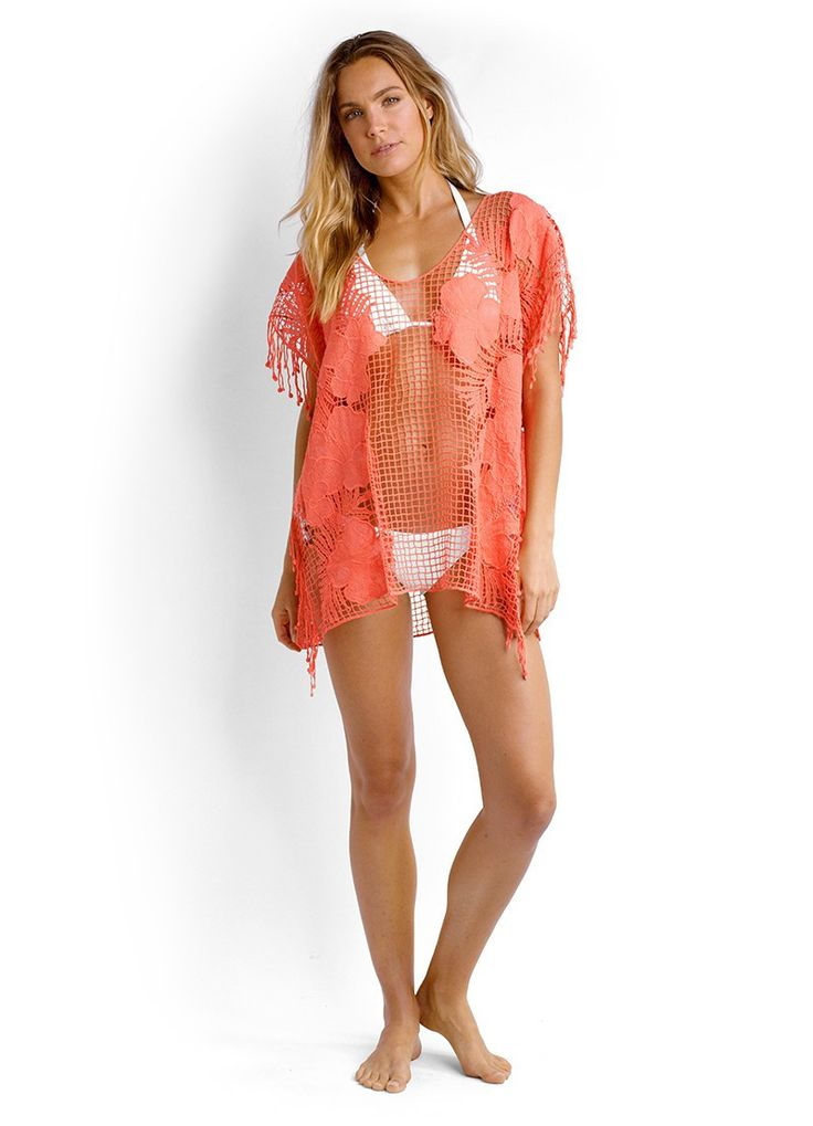 Seafolly ~ Lace Works Kaftan in Nectarine from Amazing Grace Lingerie UK