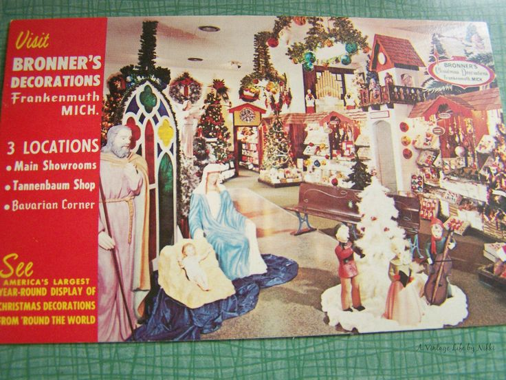 Vintage Postcard - Unused Unposted - Bronner's Decorations of Frankenmuth Michigan - Bronner's Christmas Decorations Store by AVintageLifeByNikki on Etsy