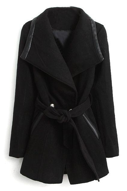 ROMWE | Self-tie Black Lapel Coat, The Latest Street Fashion