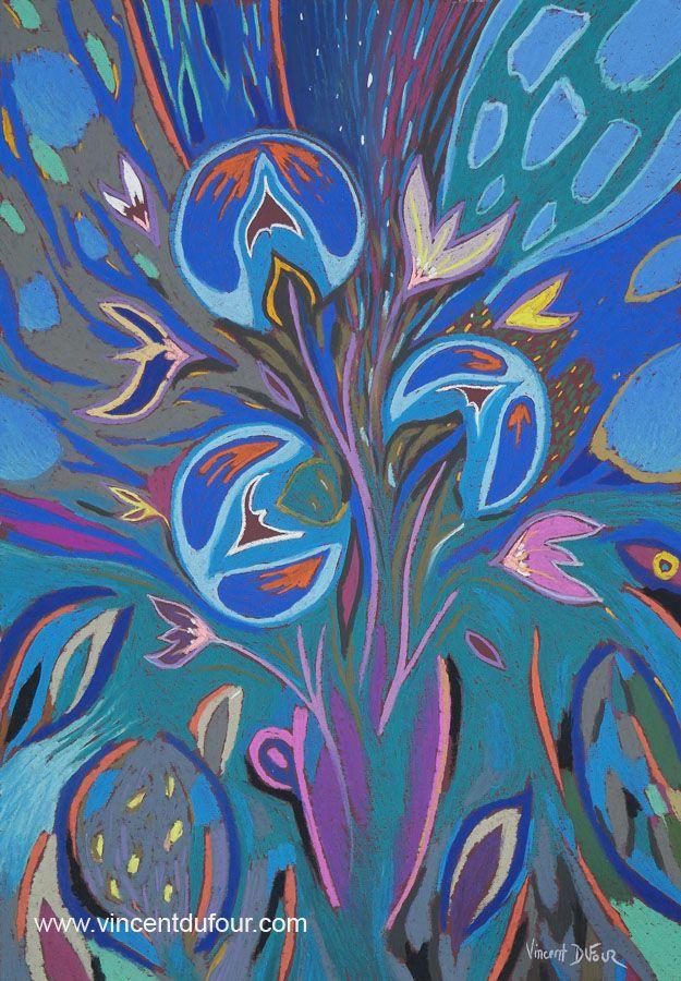 """Tableau """"Fleur d'artifice bleu 4"""" de Vincent Dufour (Pastel sec 46/66cm) Découvrez tous les tableaux """"Figuration libre"""" disponibles sur http://www.vincentdufour.com/fr/29-figuration-libre # bouquet, fleur, abstrait"""