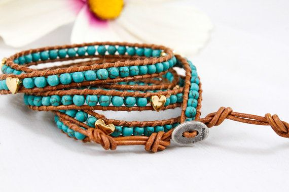 Turquoise and Gold Heart Wrap by CitrusMangos on Etsy
