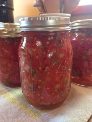 Fresh Homemade Salsa For Canning Recipe - Food.com  I would use my own recipe (more garlic, no onions or bell peppers)-but use this process.