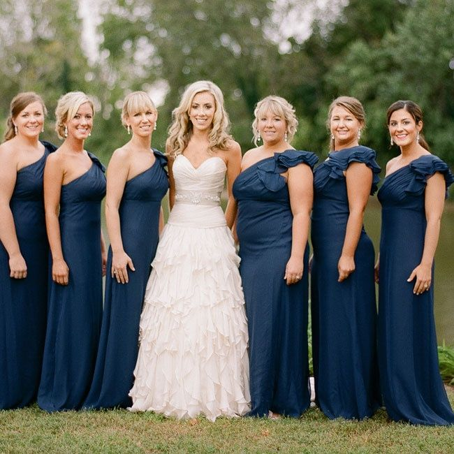 Formal one shoulder long navy blue bridesmaid dresses for Long navy dress for wedding