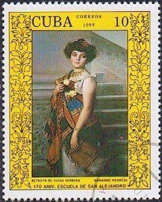 Znaczek: Elena Herrera,by Armando Menocal (Kuba) (170 years of Academy of Art…