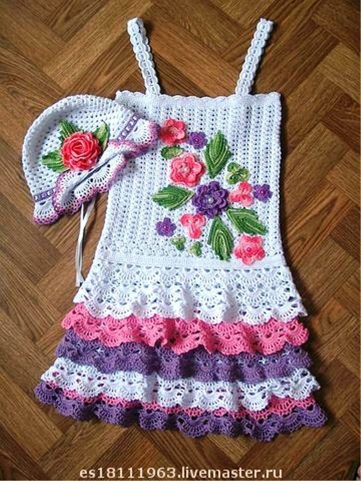 **CHECK OUT THIS SUPER CUTE DRESS & HAT SET FOR A LITTLE GIRL....THE CUTEST IVE SEEN YET!!!**  Image detail for -CROCHET DE ANA LUCIA: 03-oct-2011(Maybe Grandma Wesley would make this for me??)