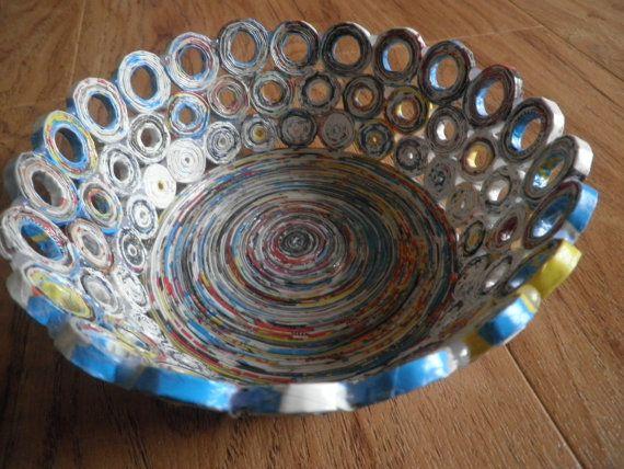 Recycled magazine bowls / basket home decor unikat por fantasmania