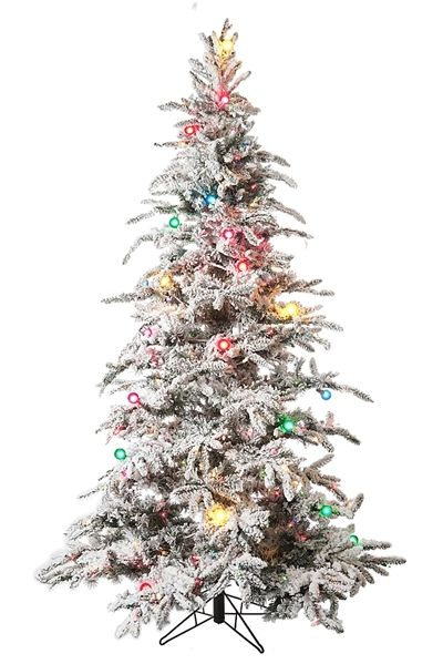 7 5 Flocked Balsam Pine Prelit Artificial Christmas Tree 1278 Tips 500 Multi Lights 46 G4 M Christmas Tree Artificial Christmas Tree Pre Lit Christmas Tree