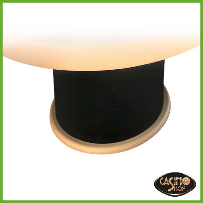 ART.0108 Gambone circolare di 60 cm in laminato con zoccolo in pelle.  Questa tipologia di gambone può essere abbinabile a tutti i tavoli. Su richiesta, possibilità di personalizzare il colore e la finitura del laminato ed il colore della pelle.