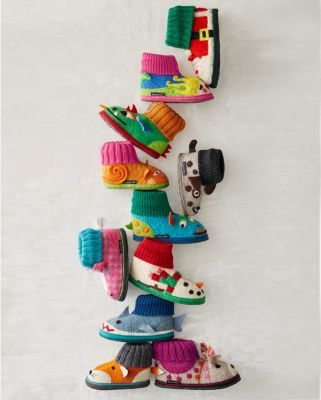 These traditional European kids' boiled wool slipper boots by Haflinger for Garnet Hill highlight an imaginative menagerie of whimsical designs. Breathable boiled wool keeps little feet warm and comfy, while a knit cuff makes them a breeze to get on and off. Soles are finished with latex dots. Wool.