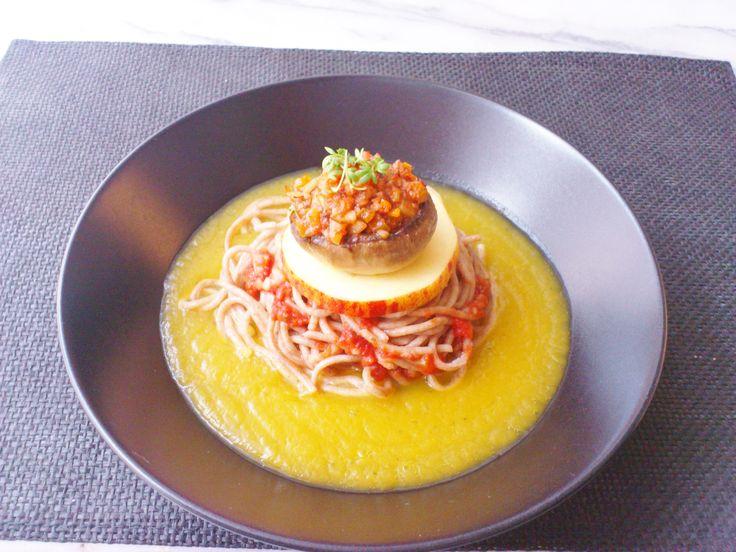 Homemade stuffed mushroom w/ veggie spicy tomato sauce, apple & buckwheat pasta pumpkin coconut milk sauce! #vegan #organic #glutenfree #healthyeating #nutrition #food
