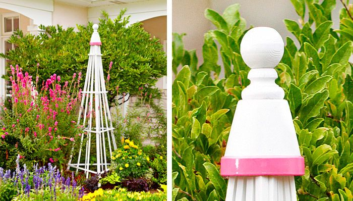 DIY:   Easy Garden Trellis from Lowe's....made with 3 fan trellises and zip ties.  A terra cotta pot (painted with any color trim) and a wood ball top.....easy project!
