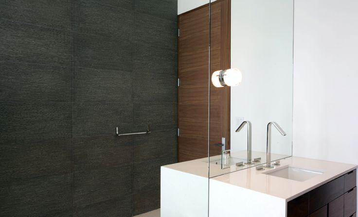 Bathroom, Vanity, Wall // Solistone Engraved Basalt