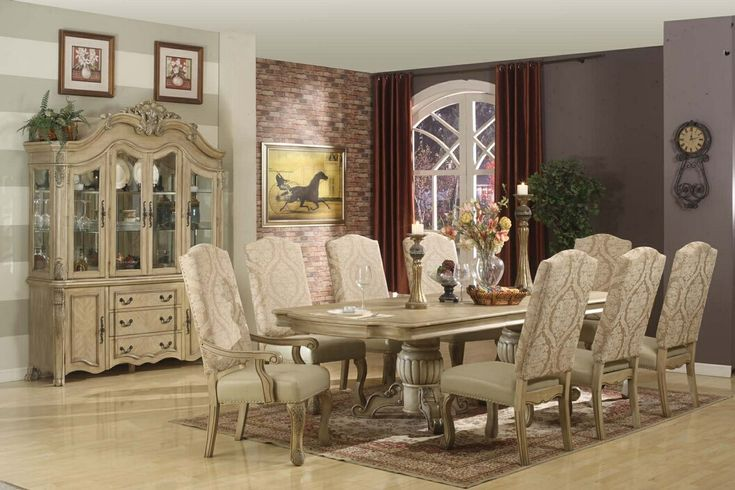 A.M.B. Furniture & Design :: Dining room furniture :: Dining table sets :: White Wash Finish :: 7 pc Penelope collection antique white finis...