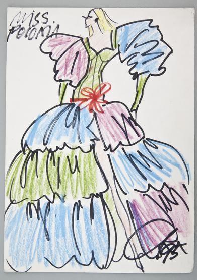 Jerzy Antkowiak, Projekt sukni balowej dla Miss Poloniae Ewy Tyleckiej, 1995, wł. MNK #PRL #Moda Polska #Polish Fashion #Jerzy Antkowiak