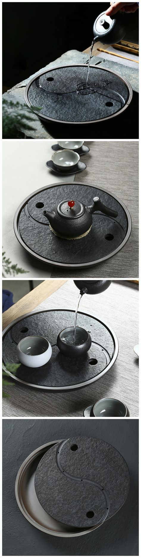Yin and Yang is a very important and basic concept in Chinese Philosophy. This black pottery tea tray will definitely bring you something special in your tea set-up and Chinese Gongfu (Kungfu) tea ceremony.