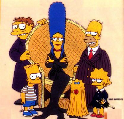 the simpsons, television, cartoon, the addams family, parody, comics, comic books