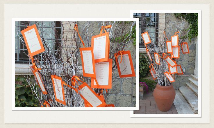 Tableaux de marriage arancione #matrimonio #Roma Sposa #tableaux #seatingchart #tableaux www.laflorealedistefania.it