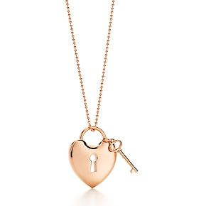 Tiffany Locks heart lock pendant with key in 18k rose gold.