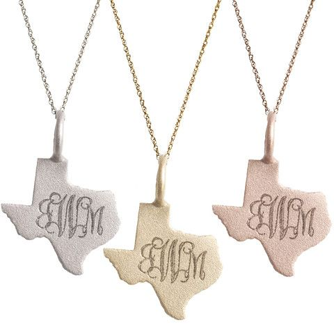 Engraved Gold Texas Monogram Necklace