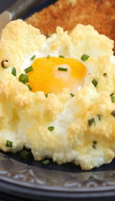 Eggs in a Cloud with Cheddar and Chives