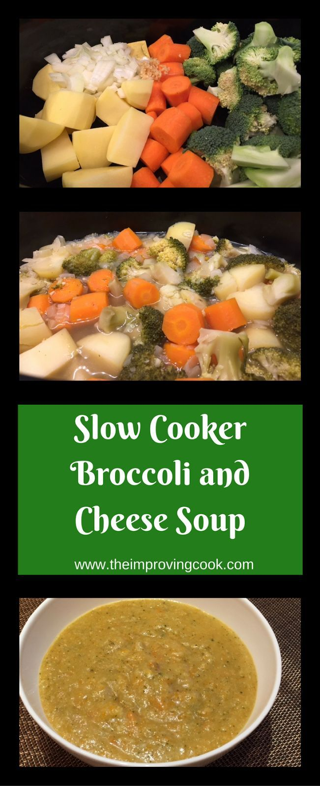 Slow Cooker Broccoli Cheese Soup- soup packed with veggies and added flavour from mature cheddar.