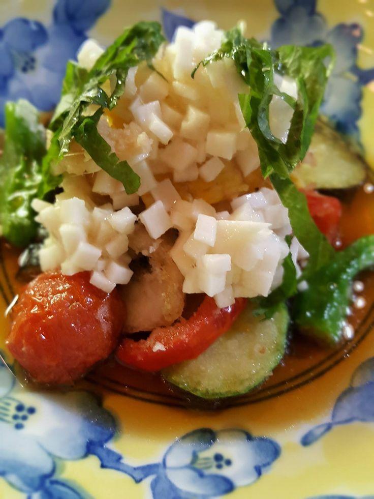 イサキと夏野菜の揚げ出し、叩き長芋かけ!