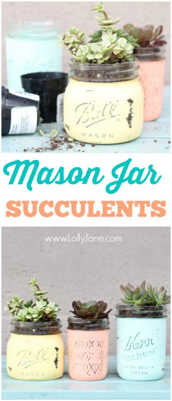 DIY mason jar succulents. So easy and pretty. Great gift idea!!  via www.lollyjane.com