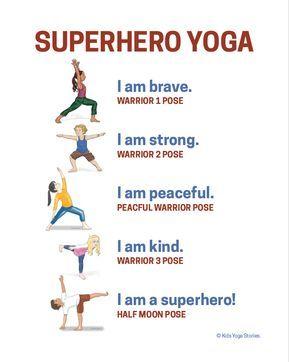 superhero yoga poster  kids yoga poses yoga for kids