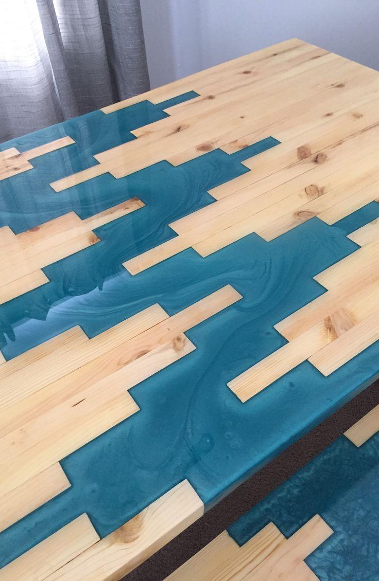 Custom Built Epoxy Resin Geometric River Wood Table