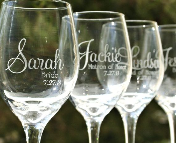 Personalized Bridesmaid Wine Glasses Laser etched by ScissorMill