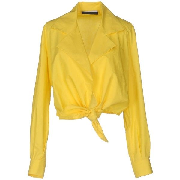 Moschino Couture Blouse (£228) ❤ liked on Polyvore featuring tops, blouses, yellow, moschino, long sleeve cotton tops, collar blouse, long sleeve tops and yellow long sleeve top