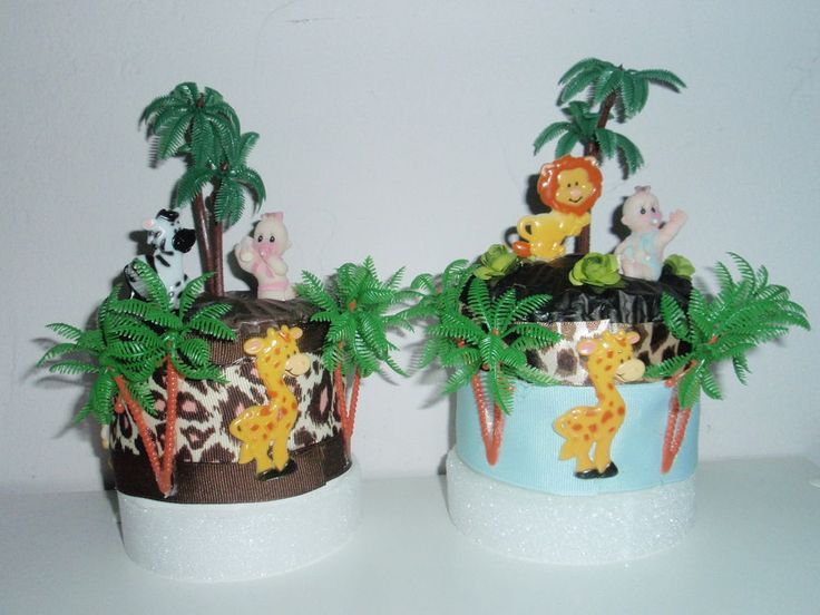 palm tree centerpiece ideas babyshower | JUNGLE SAFARI BABY SHOWER DIAPER CUPCAKES TOPP CAKE GIFT FAVOR TABLE ...