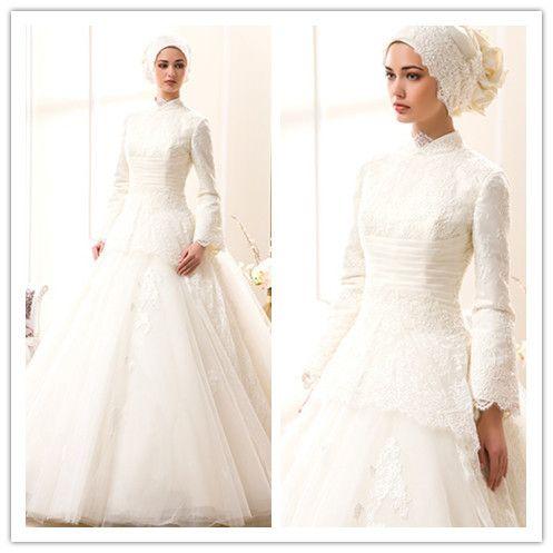 Barato Modern Plus Size arábia saudita vestido de casamento muçulmano Hijab alta gola de manga comprida muçulmano vestido de noiva gelinlik, Compro Qualidade Vestidos de casamento diretamente de fornecedores da China:                                            Marca               Eu faço             Número de estilo