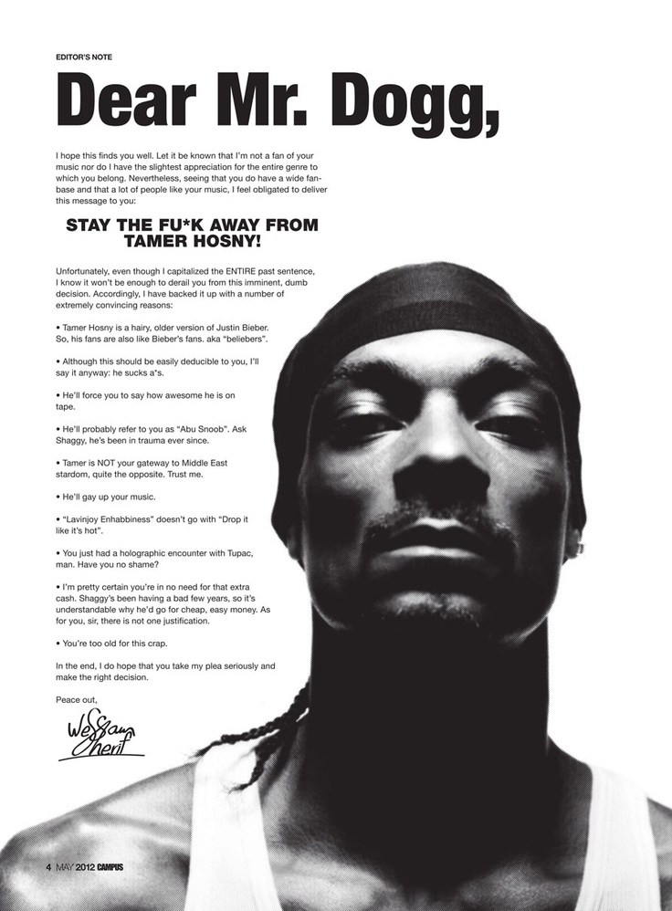 Message to Snoop Dogg!! :)