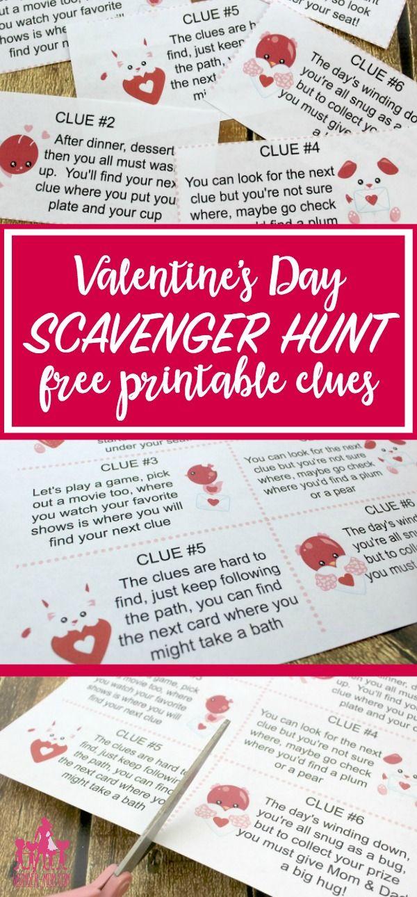 Valentine's Day Scavenger Hunt Clues