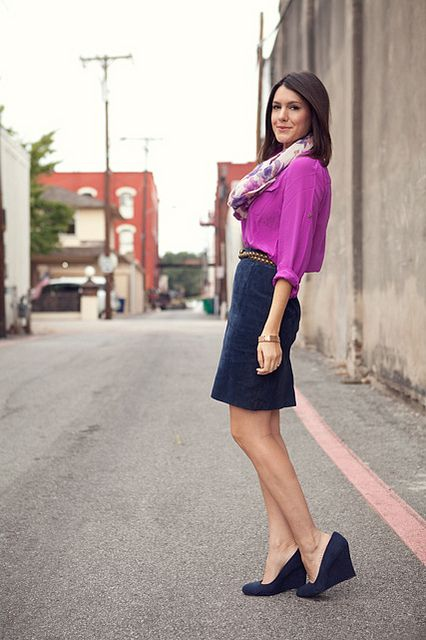 scarf + button down + pencil skirt + a smart wedge = the perfect business attire