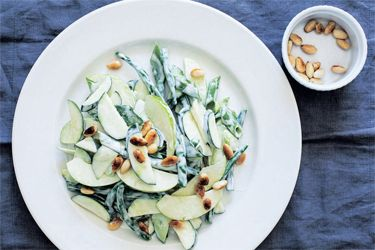 Apples, courgettes and green beans with toasted almonds and aioli