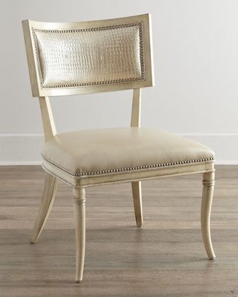 Massoud Nikita Dining Chair Juxtapose Leather And Croc Patterned Fabric.