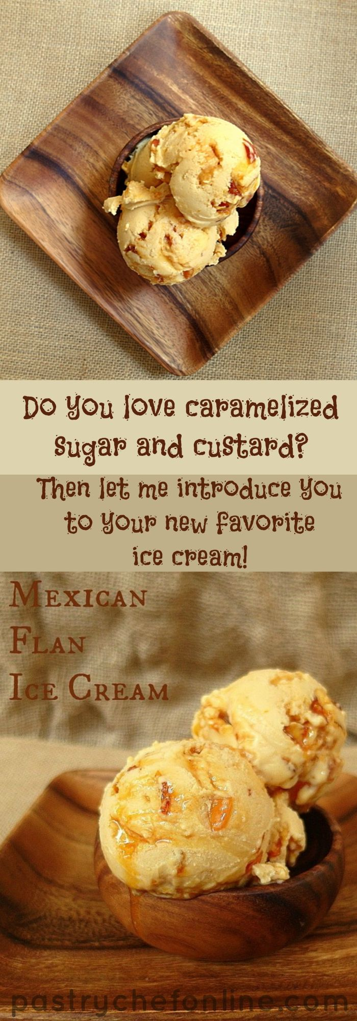 Mexican Flan Ice Cream takes a traditional Mexican Flan custard and churns it into a creamy, frozen base. Mix in shards of caramelized sugar that melt into thin caramel and you're in flan heaven. Rich and delicious, if you aren't a fan of the texture of flan but like the flavor, this just may be the dessert for you! | pastrychefonline.com