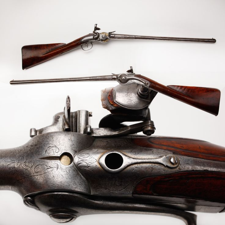 Cookson Volitional Repeating Flintlock - This gun was a revolutionary 10-shot long arm in an era when single-shot muzzleloaders were standard.Created by John Shaw, reservoirs in the buttstock held extra lead balls and measures of powder. By rotating a lever on the side, another 60-grain powder charge and .55 caliber ball were loaded into the chamber. This innovative design not only made the gun fast to shoot, but it was also waterproof. NRA National Firearms Museum, Fairfax, VA.