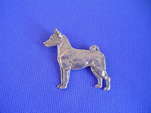Pewter Basenji Standing Pin #40L Sighthound Dog Jewelry by Cindy A. Conter