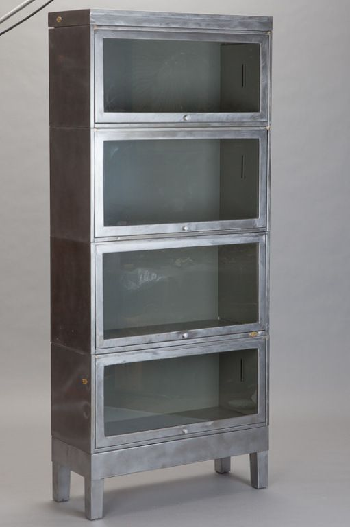 Industrial Stacking Glass Front Barrister Bookcase