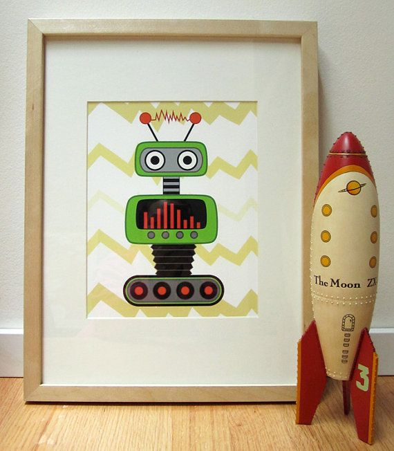 Best Wall Decor On Etsy : Best images about robot nursery ideas on